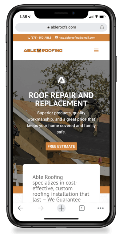 Able Roofing Web Development with Mobile view