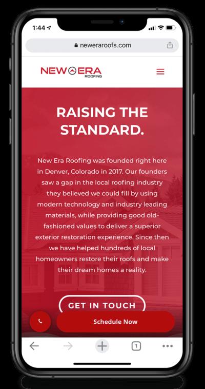 New Era Roofing Phone Mockup